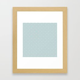 Blue background with small white clouds Framed Art Print