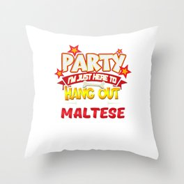Maltese Dog Party Throw Pillow