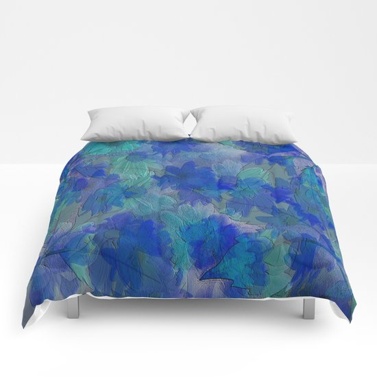 Painterly Midnight Floral Abstract Comforters