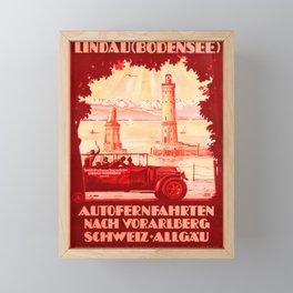 old placard Lindau Bodensee Car Ferries Vorarlberg Switzerland Allgau Framed Mini Art Print