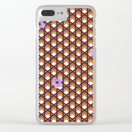 Brown Wicker With Purple Flowers Clear iPhone Case