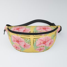 Mustard and Peach Aztec Hibiscus Fanny Pack