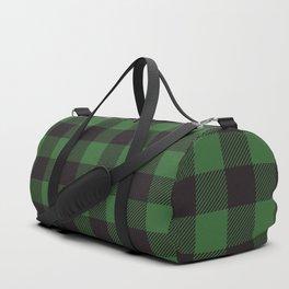 Buffalo Plaid Rustic Lumberjack Green And Black Check Pattern Duffle Bag