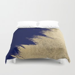 Navy blue abstract faux gold brushstrokes Duvet Cover