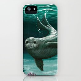 """Hawaiian Monk Seal"" by Amber Marine ~ Acrylic Painting, (Copyright 2015) iPhone Case"