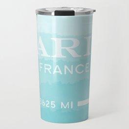 blue ombre watercolor paris france Travel Mug