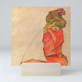 "Egon Schiele ""Kneeling Female in Orange-Red Dress"" Mini Art Print"