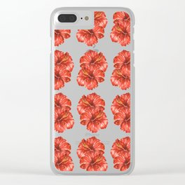 Watercolor Hibiscus Flowers Clear iPhone Case