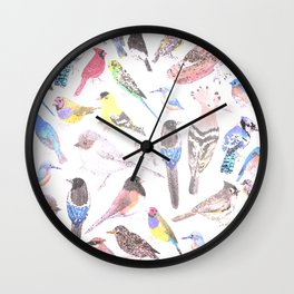 Birds of America- pets and wild birds in stained glass Wall Clock