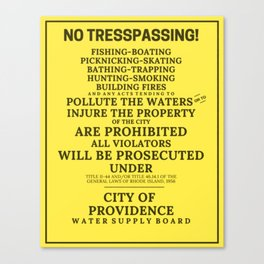 Scituate Reservoir, Providence Water Supply Board No Trespassing Sign, Rhode Island Artboard Canvas Print
