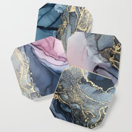 Blush, Payne's Gray and Gold Metallic Abstract Coaster