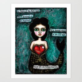 Broken Hearted Mermaid with Poe Quote Art Print