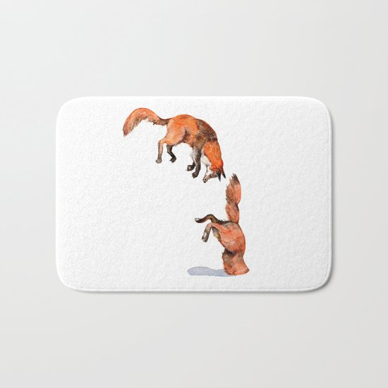 Jumping Red Fox Bath Mat