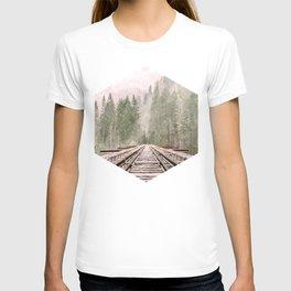 Geometric railroad and trees illustration T-shirt