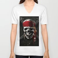 pirate V-neck T-shirts featuring PIRATE by Acus