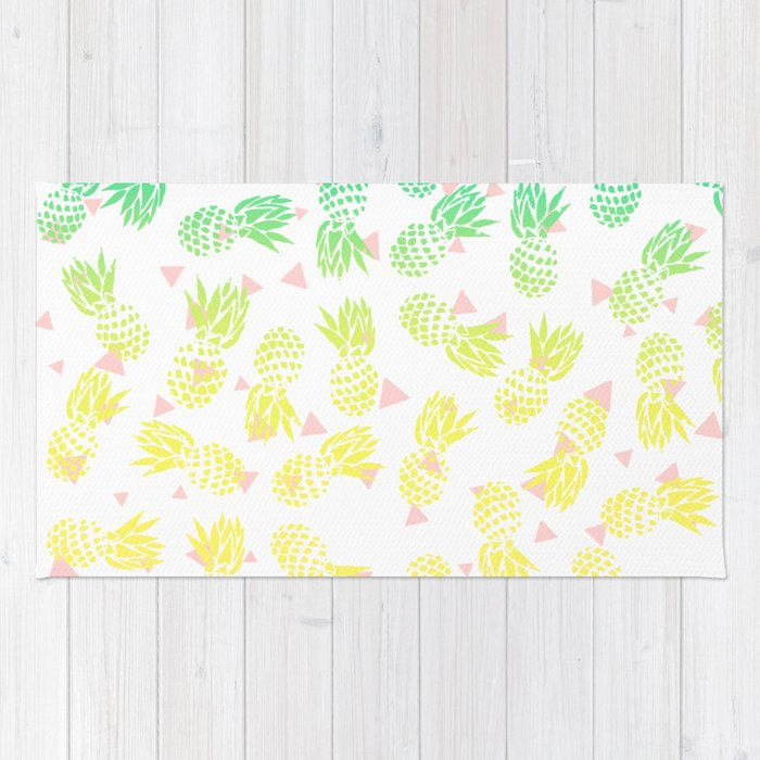 Modern summer tropical turquoise yellow pineapples ombre gradient pink triangles pattern Rug