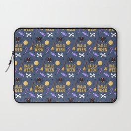Happy haloween pattern with test, spiders, brooms, bones and sweets Laptop Sleeve