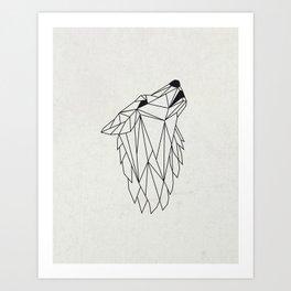 Geometric Howling Wild Wolf Art Print