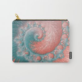 Living Coral Teal Blue Spiral Swirl Pattern Abstract Coral Reef Fractal Carry-All Pouch
