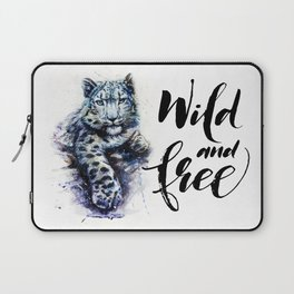 Snow leopard wild and free Laptop Sleeve