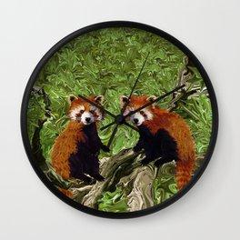 Frolicking Red Pandas Wall Clock