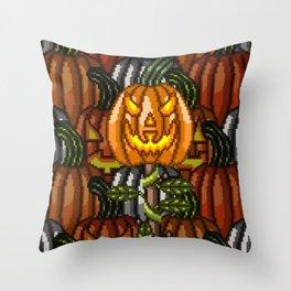 Sinister Pumpkin Staff Throw Pillow
