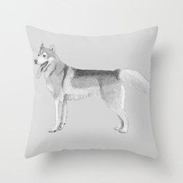 Siberian Husky - ink Throw Pillow