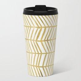 Gold Herringbone Travel Mug