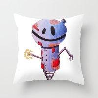 robot Throw Pillows featuring Robot by Ciotti