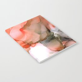 Valencian Kiss - abstract kiss, orange, gray, white, modern, fluid paint, ink, marble Notebook