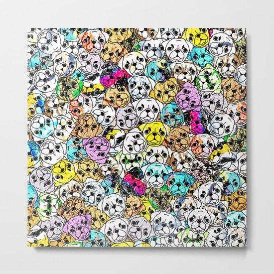 Gemstone Pugs Dogs Metal Print