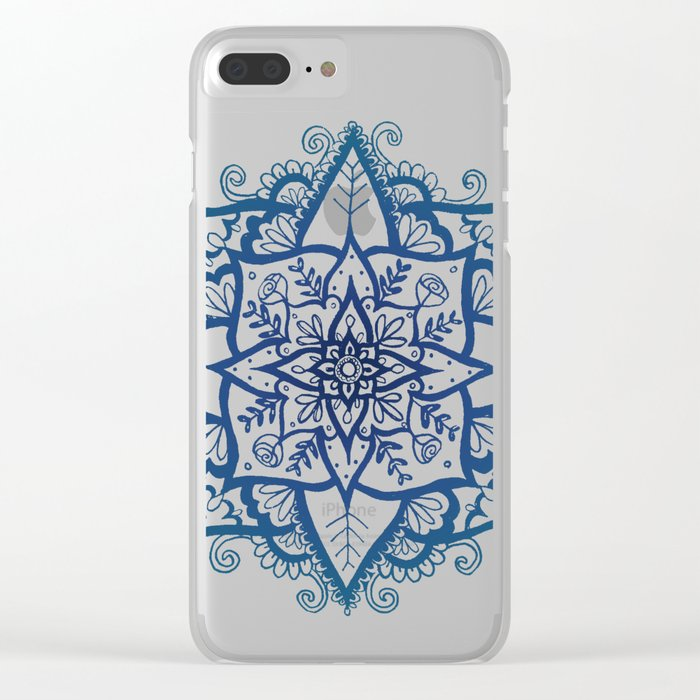 Blue Floral Pattern on Cream Clear iPhone Case