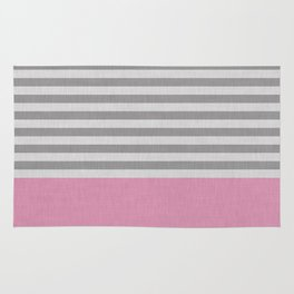 Pink and gray stripes and color blick Rug