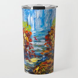 Misty Path oil painting with a Palette Knife Travel Mug