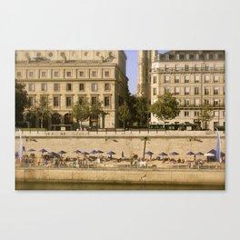 Sunbathers on the Siene River - Paris Canvas Print