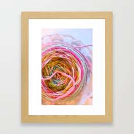 Pink Yarn in a Lace Bowl Framed Art Print