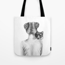 Fox and a Girl Tote Bag