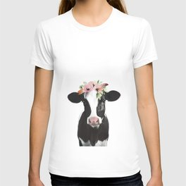 Cow with flower crown T-shirt