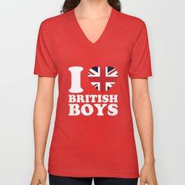 Union Jack Heart United Kingdom Flag Unisex V-Neck