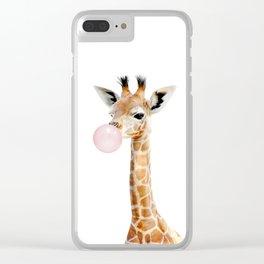Bubble Gum Baby Giraffe Clear iPhone Case