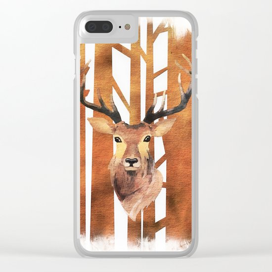 Proud deer in forest- Watercolor Illustration Clear iPhone Case