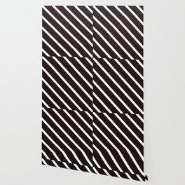 Raw Cacao Diagonal Stripes Wallpaper