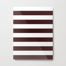 Horizontal Stripes - White and Dark Sienna Brown Metal Print