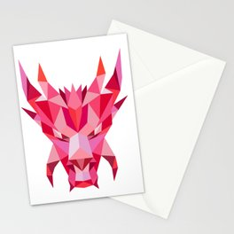 Dragon Head Front Low Polygon Style Stationery Cards