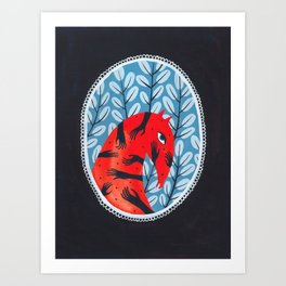 Smug red horse 2. Art Print