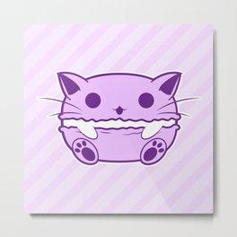 Purple Kawaii Cat Macaroon Metal Print