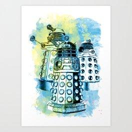 Dalek inspired mixed media watercolor Art Print