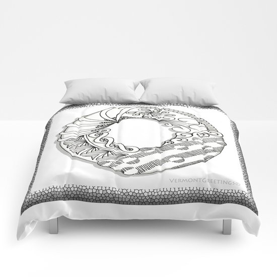 Zentangle O Monogram Alphabet Illustration Comforters