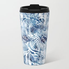 Modern navy blue tie die watercolor floral white boho hand drawn pattern Travel Mug