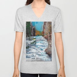 Melting Snow in McKinnon Ravine / Dennis Weber / ShreddyStudio Unisex V-Neck